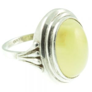 White agate silver ring - side view