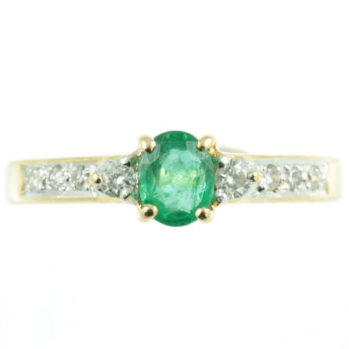 18ct gold Emerald and diamond ring - front view