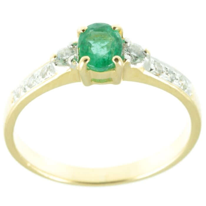 18ct gold Emerald and diamond ring - top view