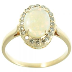 18ct gold opal and diamond ring - top view