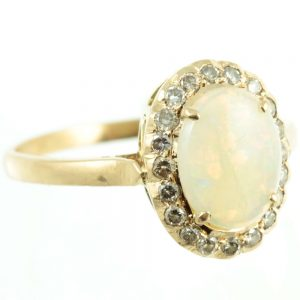 18ct gold opal and diamond ring - side view