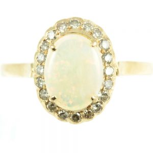 18ct gold opal and diamond ring - front view
