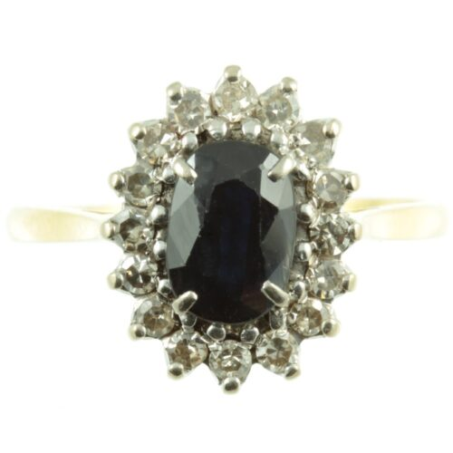 1950s sapphire and diamond ring - front view