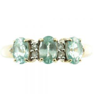 3 stone aquamarine and diamond ring - front view