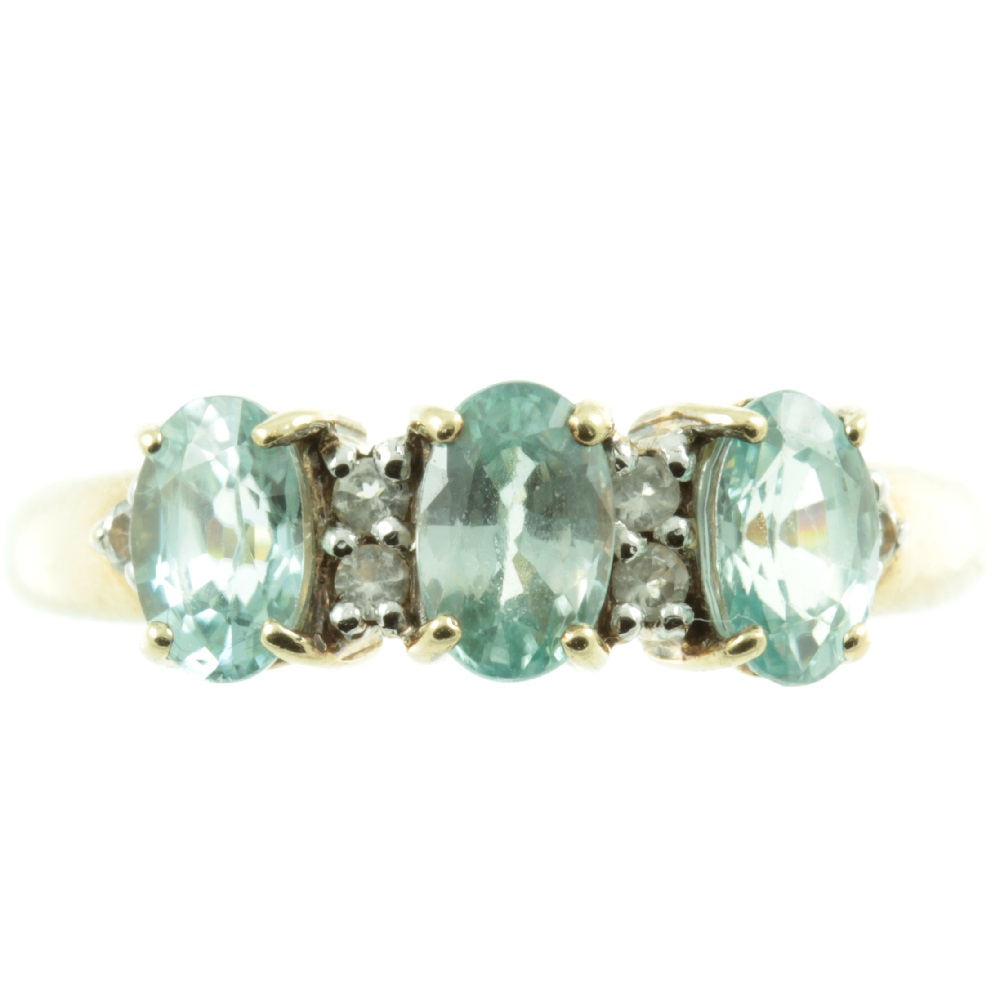 3 stone aquamarine and diamond ring - front view