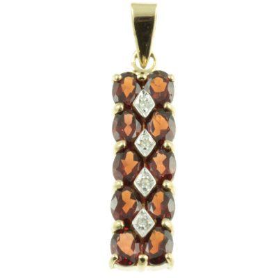 9ct Gold Garnet & Diamond Pendant
