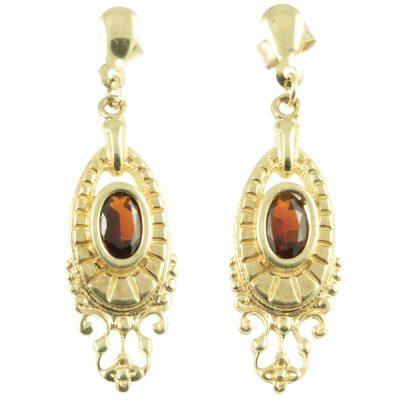9ct gold garnet earrings