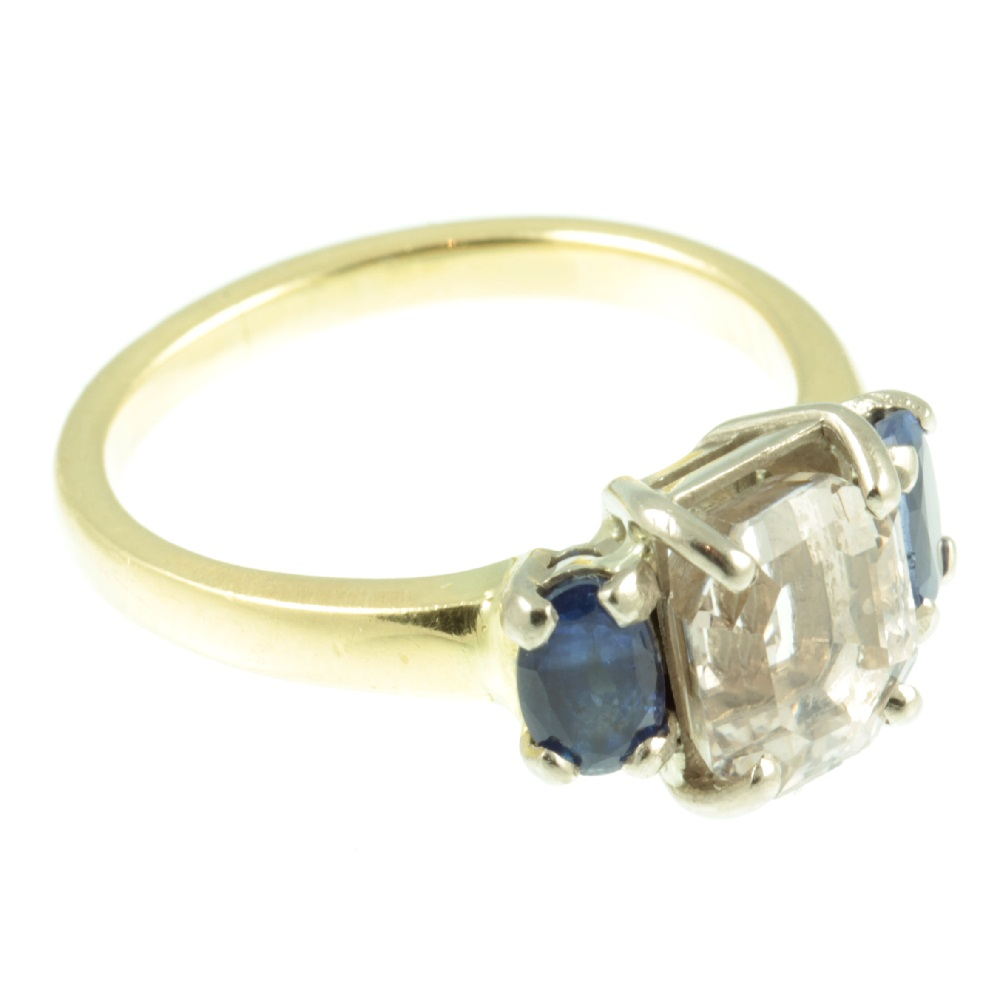 Art Deco 3 stone Sapphire ring