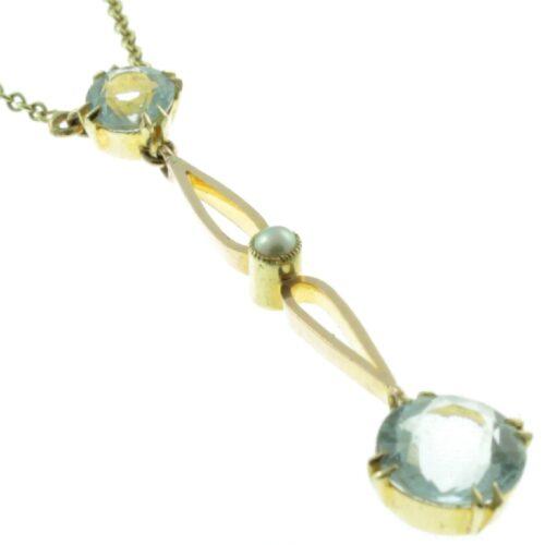 Art Deco Aquamarine & Pearl Pendant