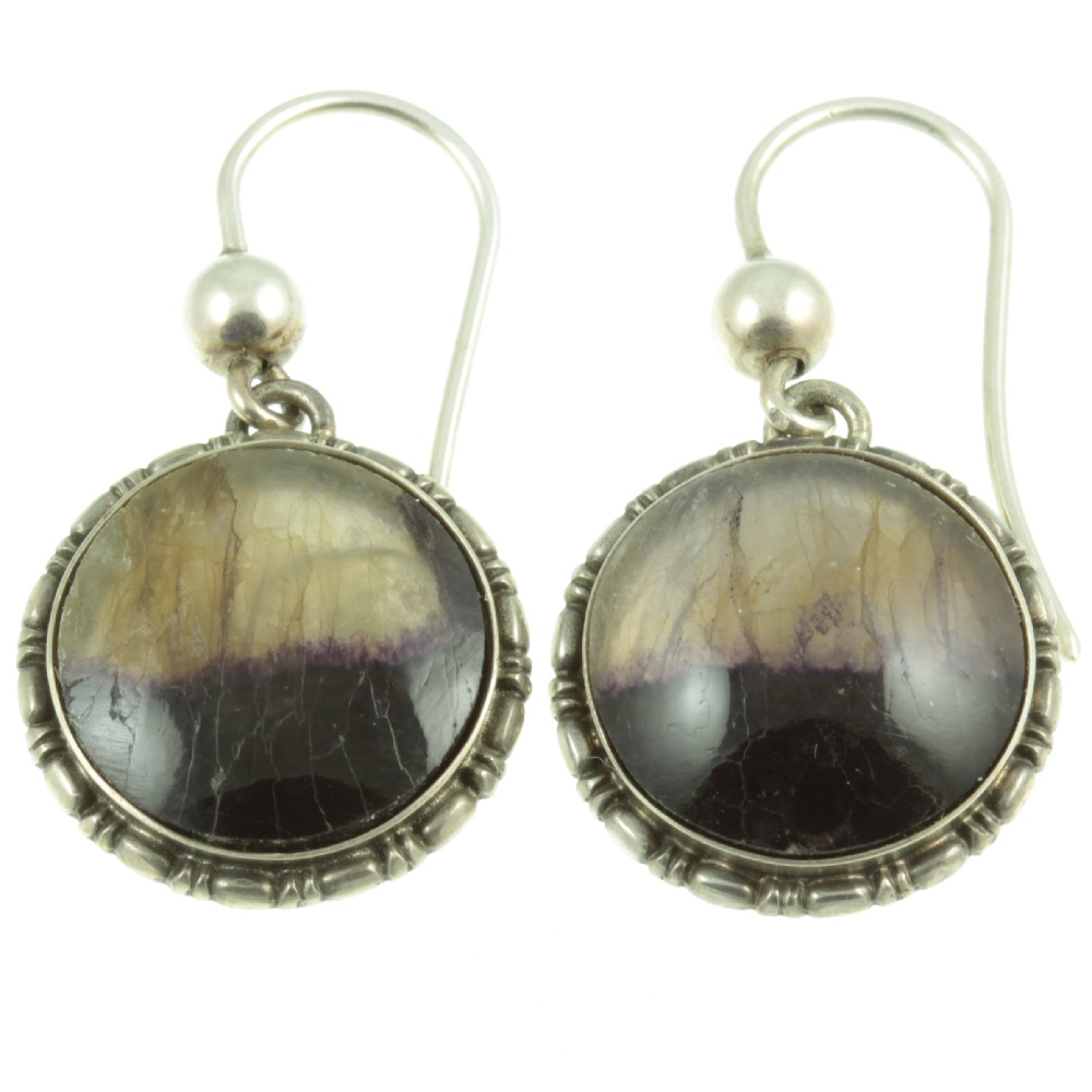 Art Deco Blue John Earrings - front view