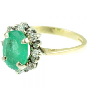 Art Deco Emerald and diamond ring - side view