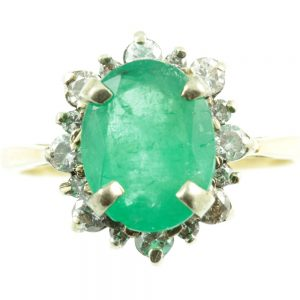 Art Deco Emerald and diamond ring - front view