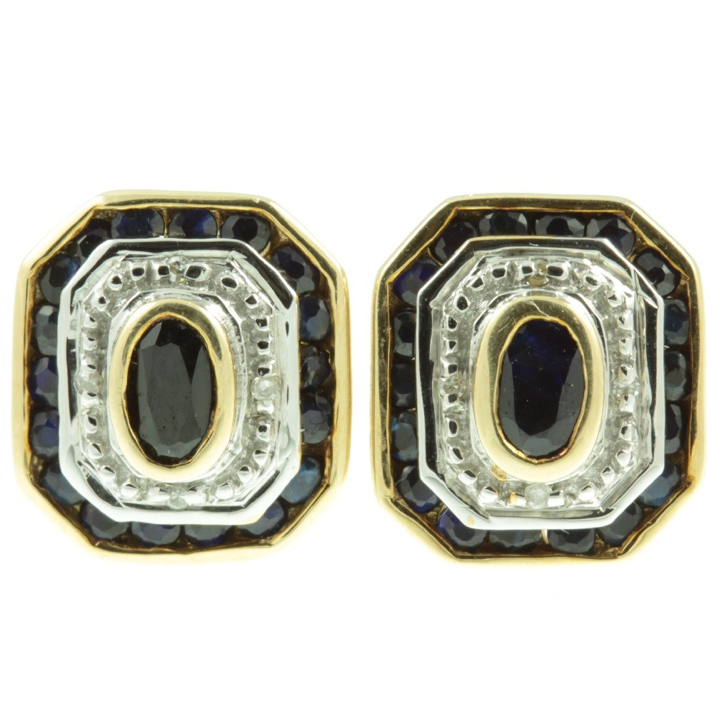 Art Deco Sapphire and Diamond Earrings
