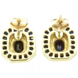 Art Deco Sapphire and Diamond Earrings - inside view