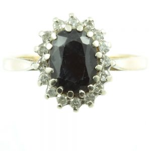 Art Deco Sapphire and Diamond ring - front view