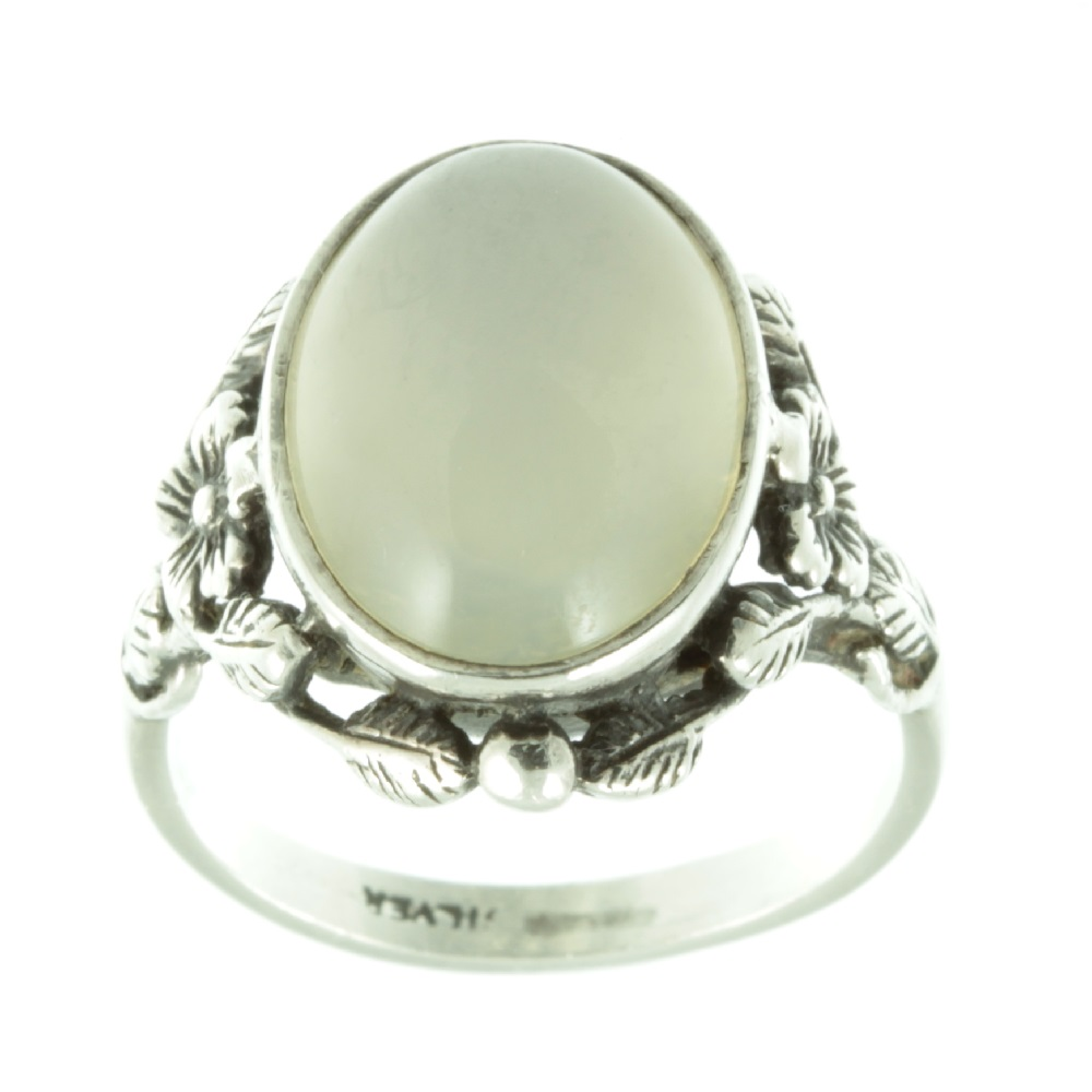 Art Nouveau Moonstone silver ring - top view