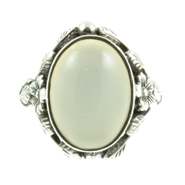 Art Nouveau Moonstone silver ring - front view