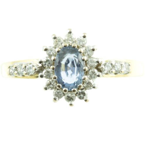 Ceylon Sapphire and diamond ring - front view