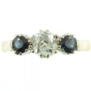 Diamond and sapphire ring - front view
