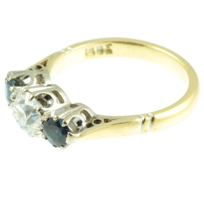 Diamond and sapphire ring - side view