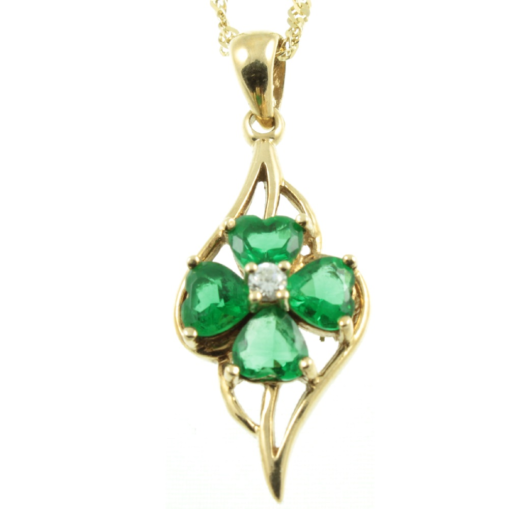 Emerald & Diamond Clover Pendant