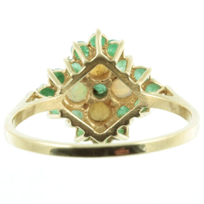 Emerald and diamond cluster ring - inside view