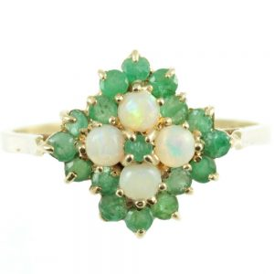 Emerald and diamond cluster ring - front view