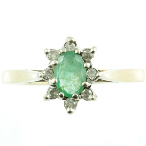 Emerald and diamond ring - front view