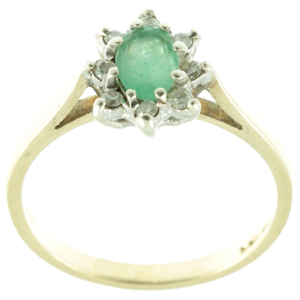 Emerald and diamond ring - top view