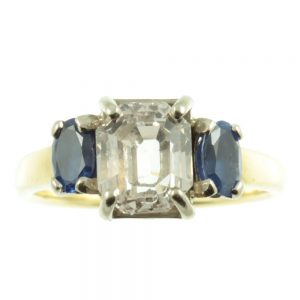 Art Deco 3 stone Sapphire ring - front view