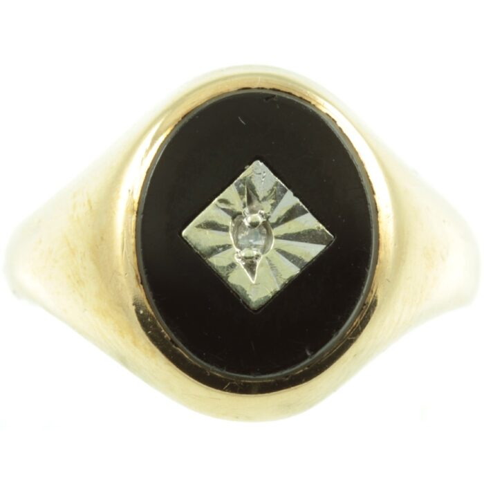 Onyx and Diamond Signet ring
