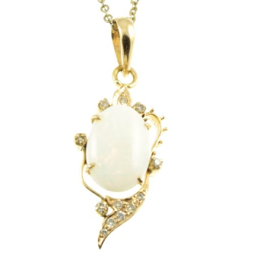 Opal & Diamond Pendant Necklace