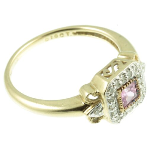 Pink sapphire and diamond ring - side view