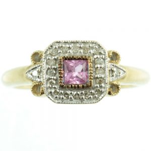 Pink sapphire and diamond ring - front view