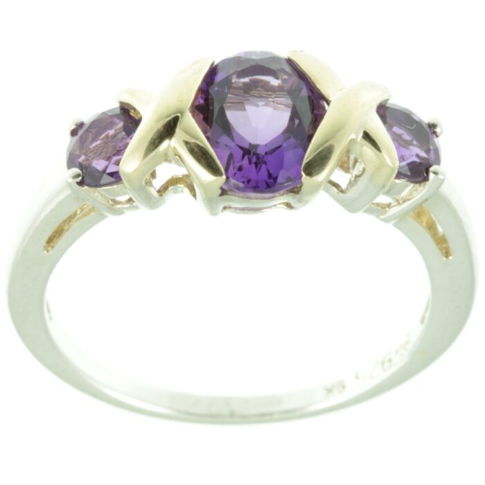 Three stone amethyst ring - top view