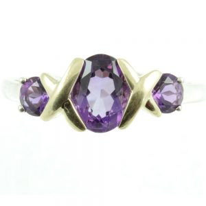Three stone amethyst ring - front view