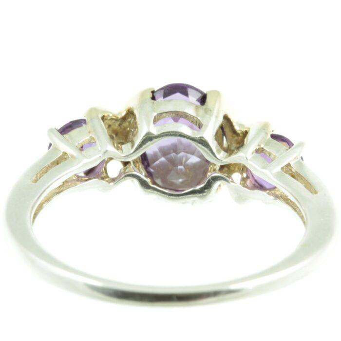 Three stone amethyst ring - inside view