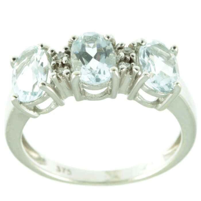 Three stone aquamarine ring - top view