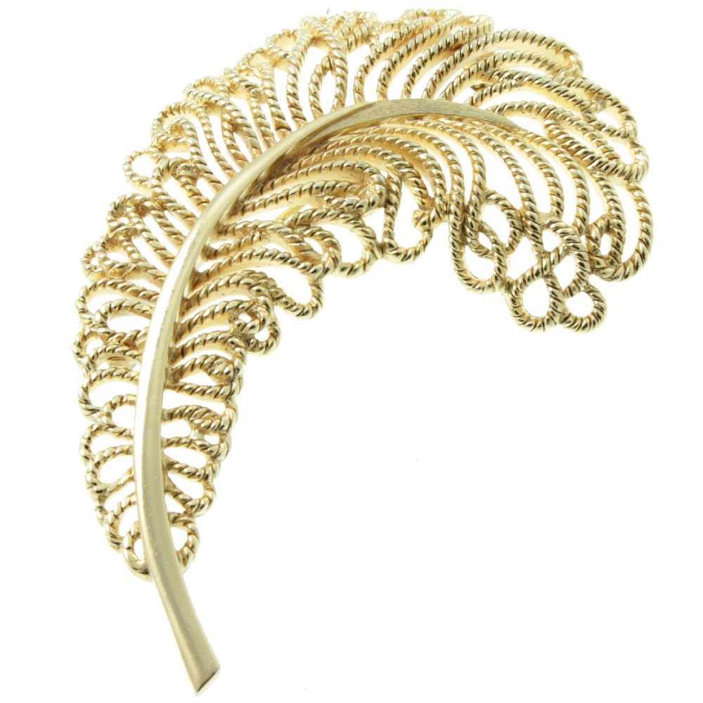 Trifari Ostrich Feather Brooch