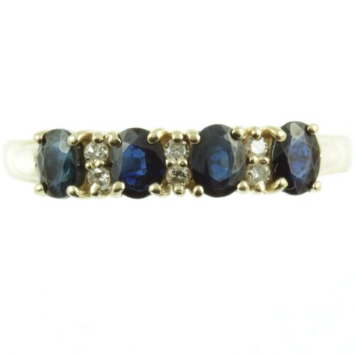 four stone sapphire and diamond ring - front view