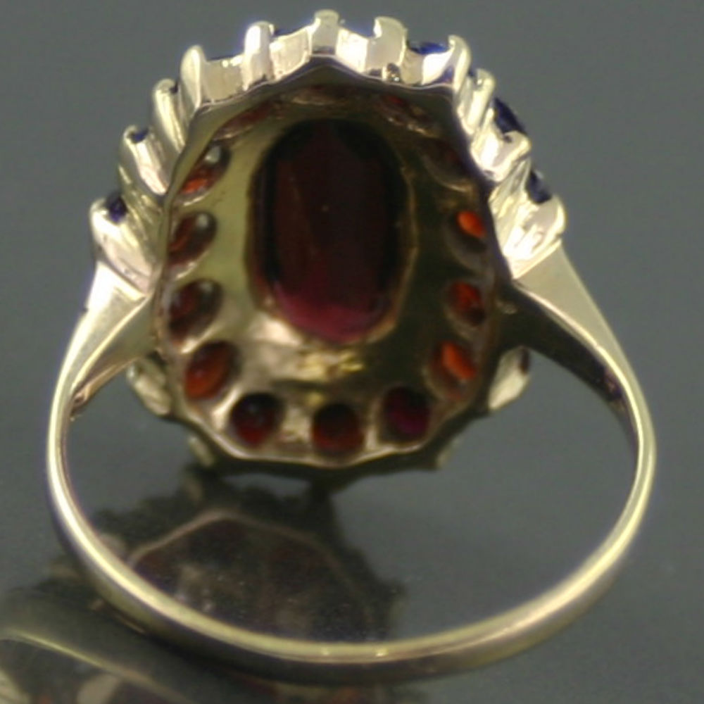 8 ct gold garnet dress ring retro jewellery