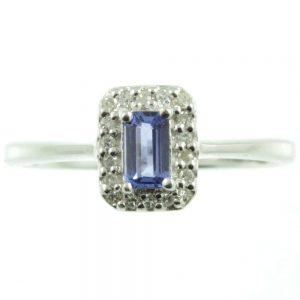 9 carat white gold Tanzanite and diamond ring
