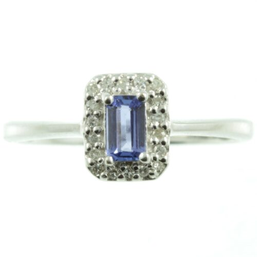 9 carat white gold Tanzanite and diamond ring