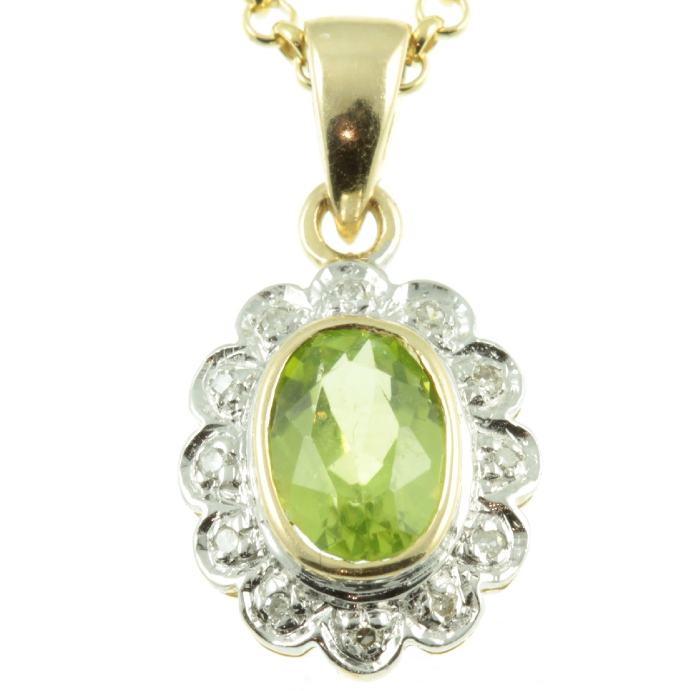 9ct Gold Peridot & Diamond Pendant