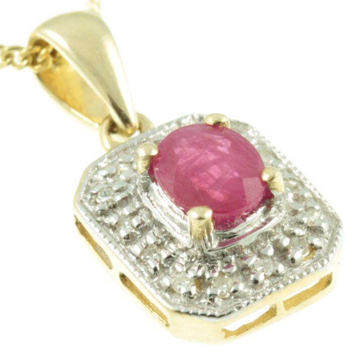 9ct Gold Ruby & Diamond Pendant