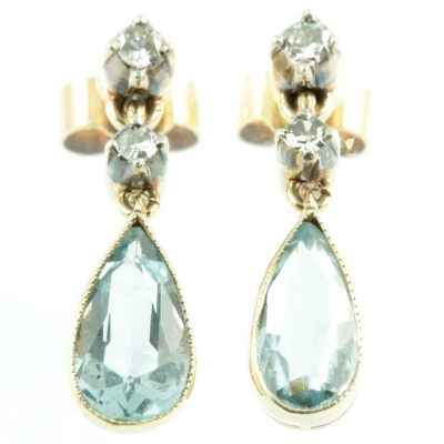 Edwardian Aquamarine and diamond earrings
