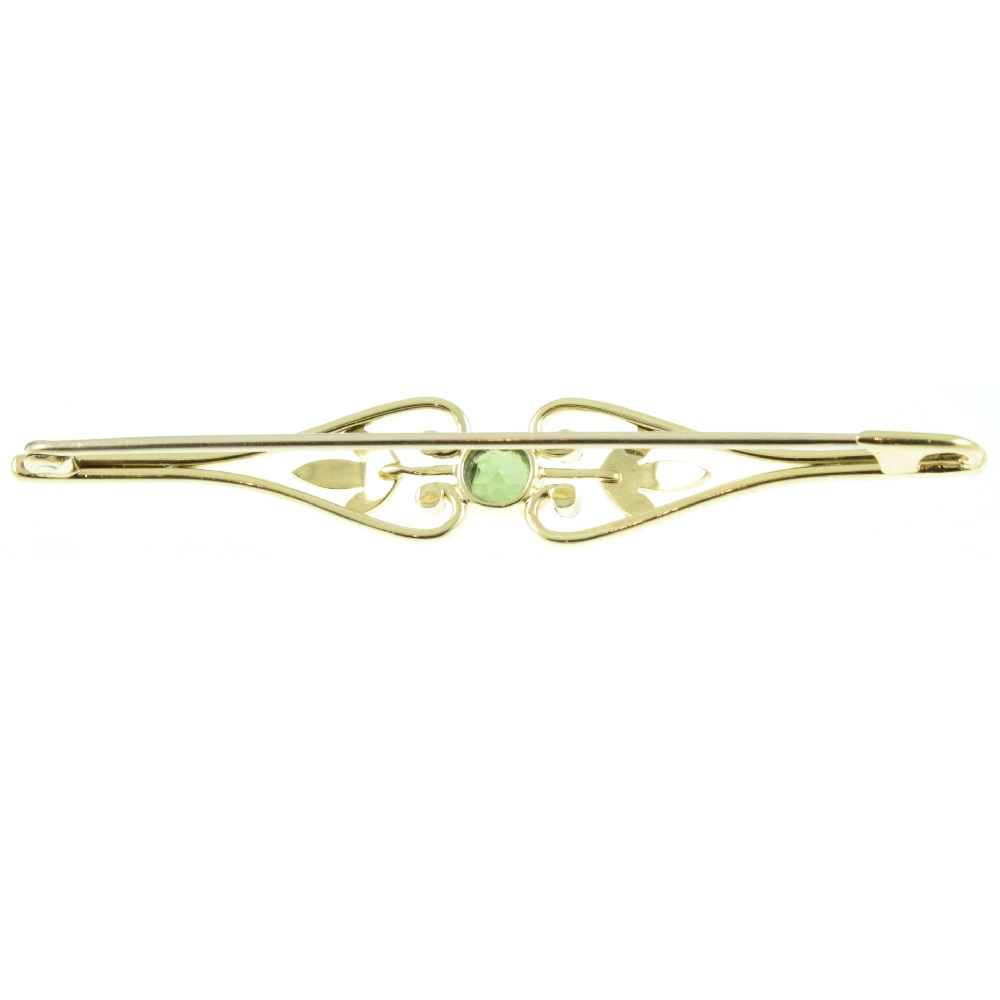 Edwardian Tourmaline & Pearl Brooch