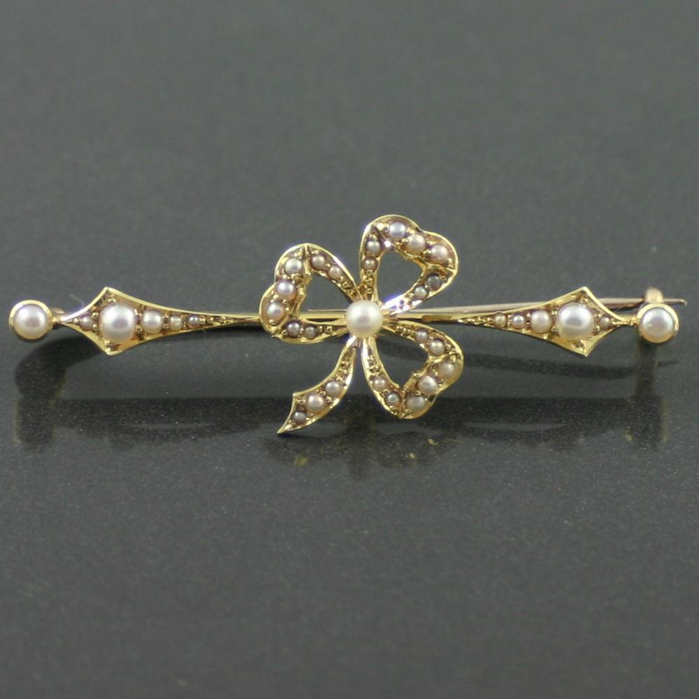 Edwardian split pearl brooch