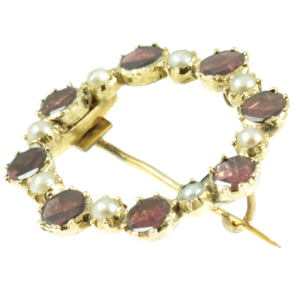Georgian Garnet & Split Pearl Brooch