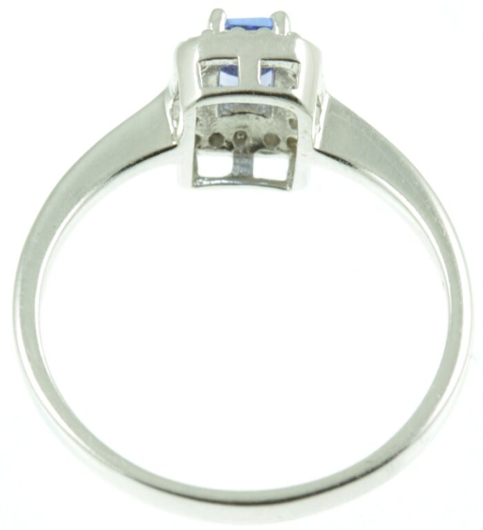 Inside view of Tanzanite and diamond ring